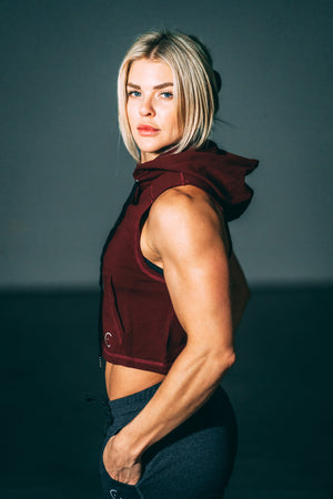 Crop it like it's hot Muscle Hoodie - Burgundy