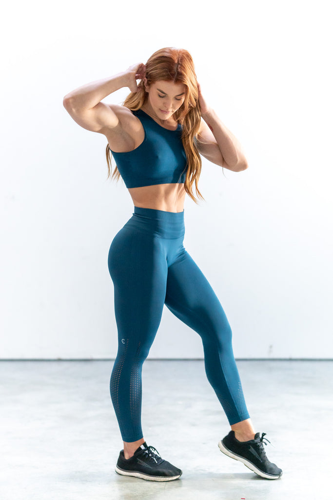 Perforated Cascade Wrap Seamless Highwaist Leggings - Teal Blue