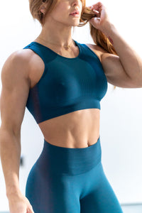 Perforated Cascade Seamless Hybrid Sports Bra - Teal Blue