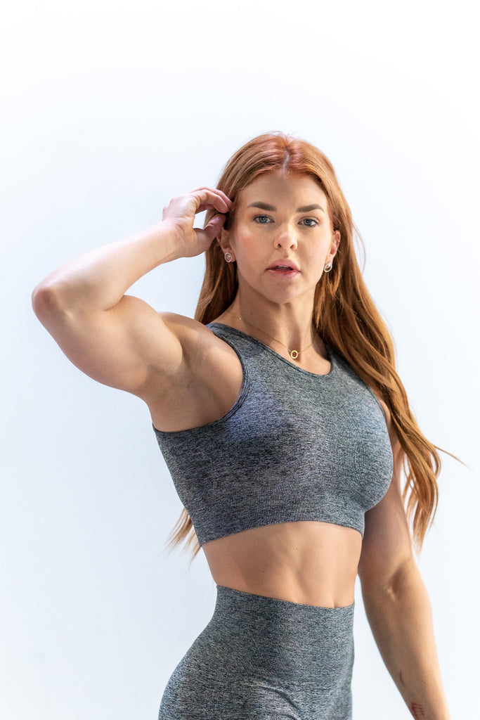 Perforated Cascade Seamless Hybrid Sports Bra - Heather Grey