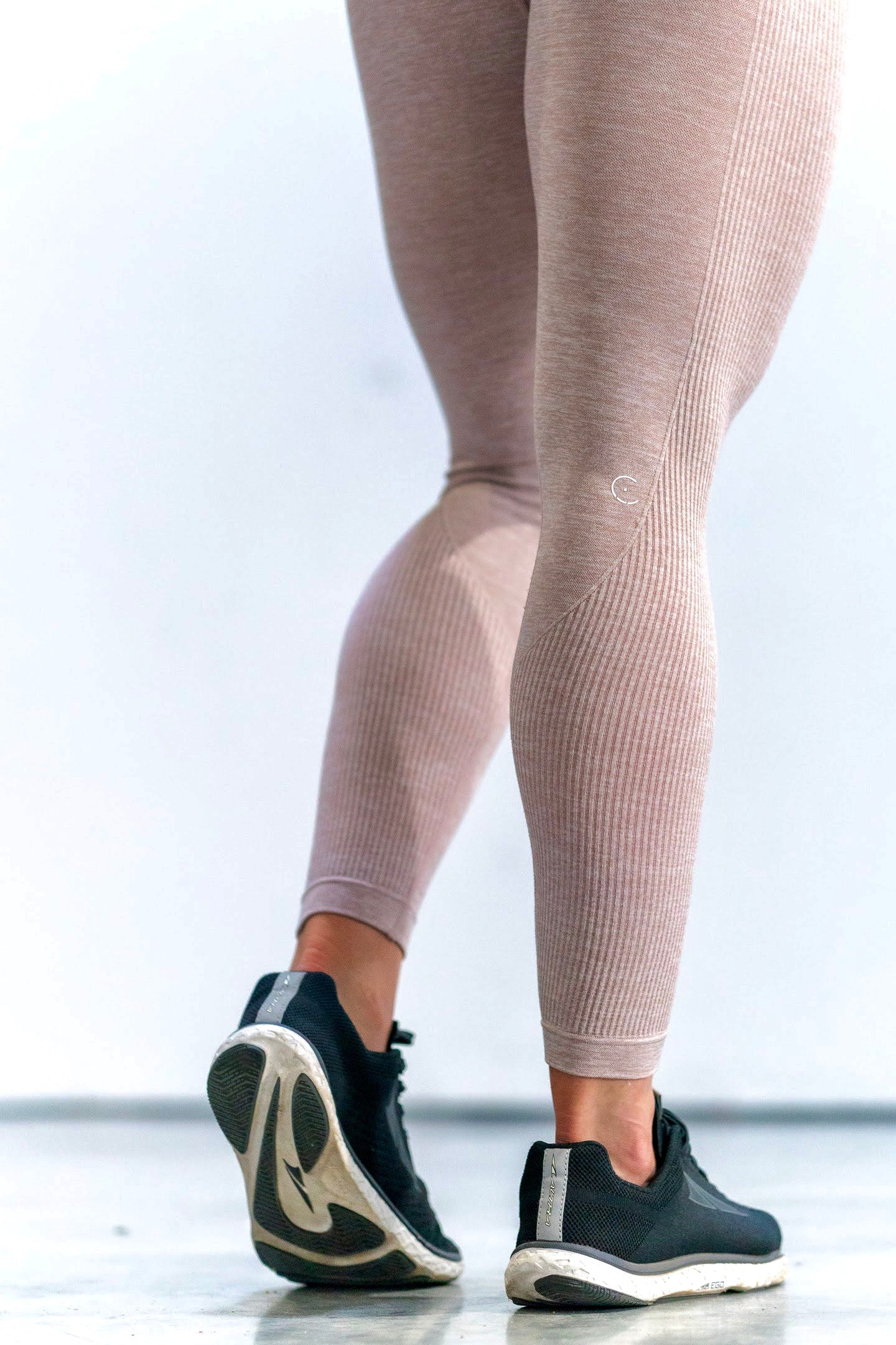 Ribbed Side Track Essentials Seamless Melange Highwast Leggings - Almond