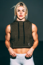 Crop it like it's hot Muscle Hoodie - Olive