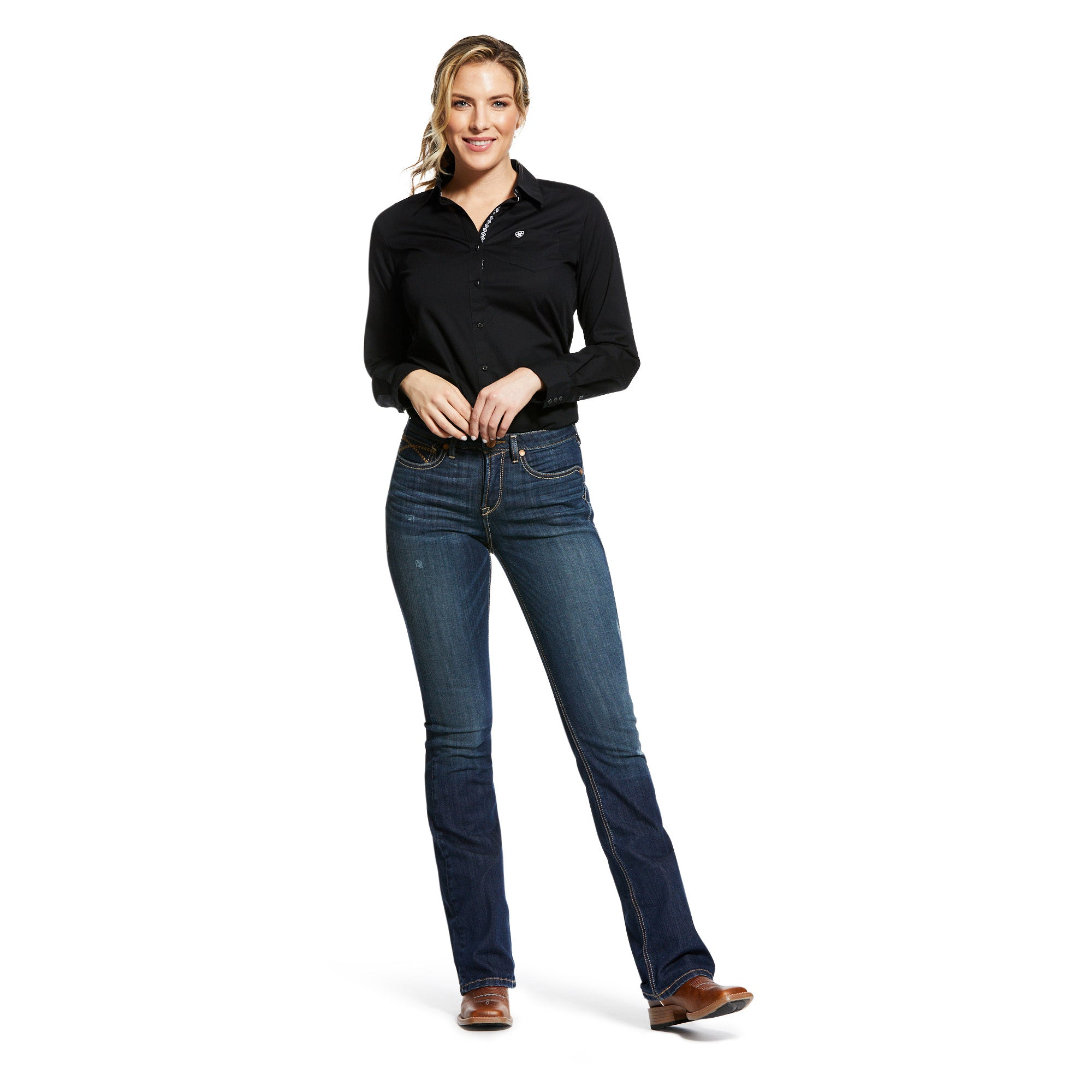 10032305 Ariat Women's R.E.A.L High Rise Marine Boot Cut Long'