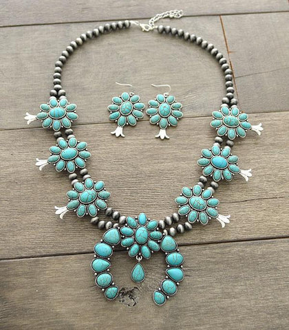 MNE-0003SBTQ Turquoise Necklace and Earring Set