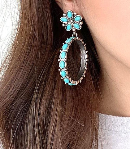SE1330-SBTQ Turquoise Hoop Floral Earrings