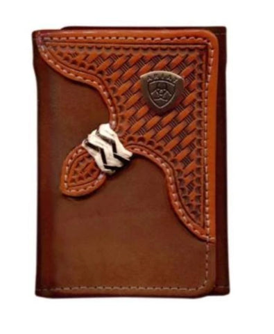 WLT3111A Ariat Tri Fold Wallet Brown