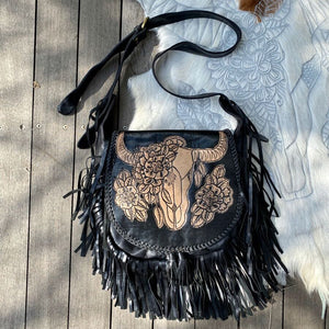 13416 Hand Tooled Buffalo Fringe Saddle Bag - Vintage Black