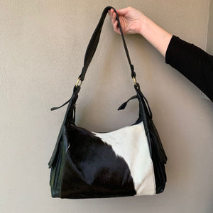 22879 Hide Double Pocket Bag - Black & White