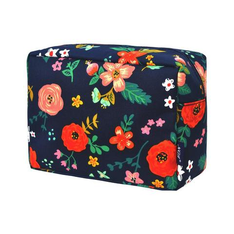 FEW613-NAVY Floral Cosmetic Case
