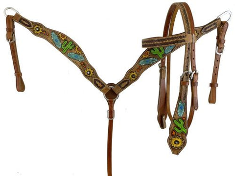 7095 Showman Hand Painted Southwest Bridle and Breastplate