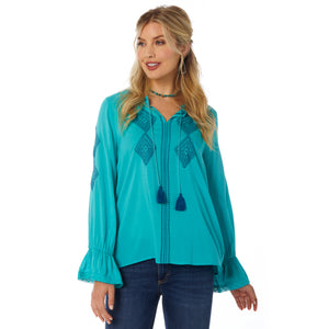 LW7530Q Wrangler Women's USA Retro Top Teal