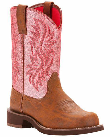 10025033 Ariat Women's Fatbaby Tall Pink Crackle