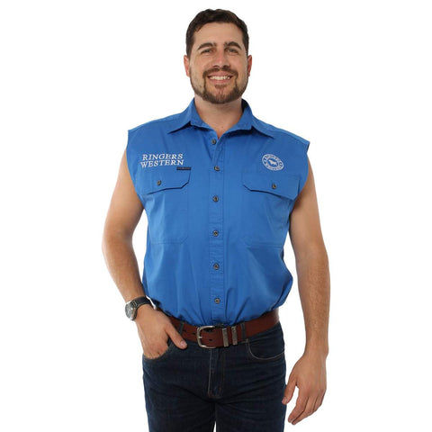 120210991-BLU/WHU Ringers Western Men's Hawkeye Sleeveless Work Shirt Blue
