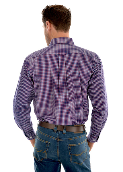 T0W1115015 Thomas Cook Mens Henley Check  L/S Shirt
