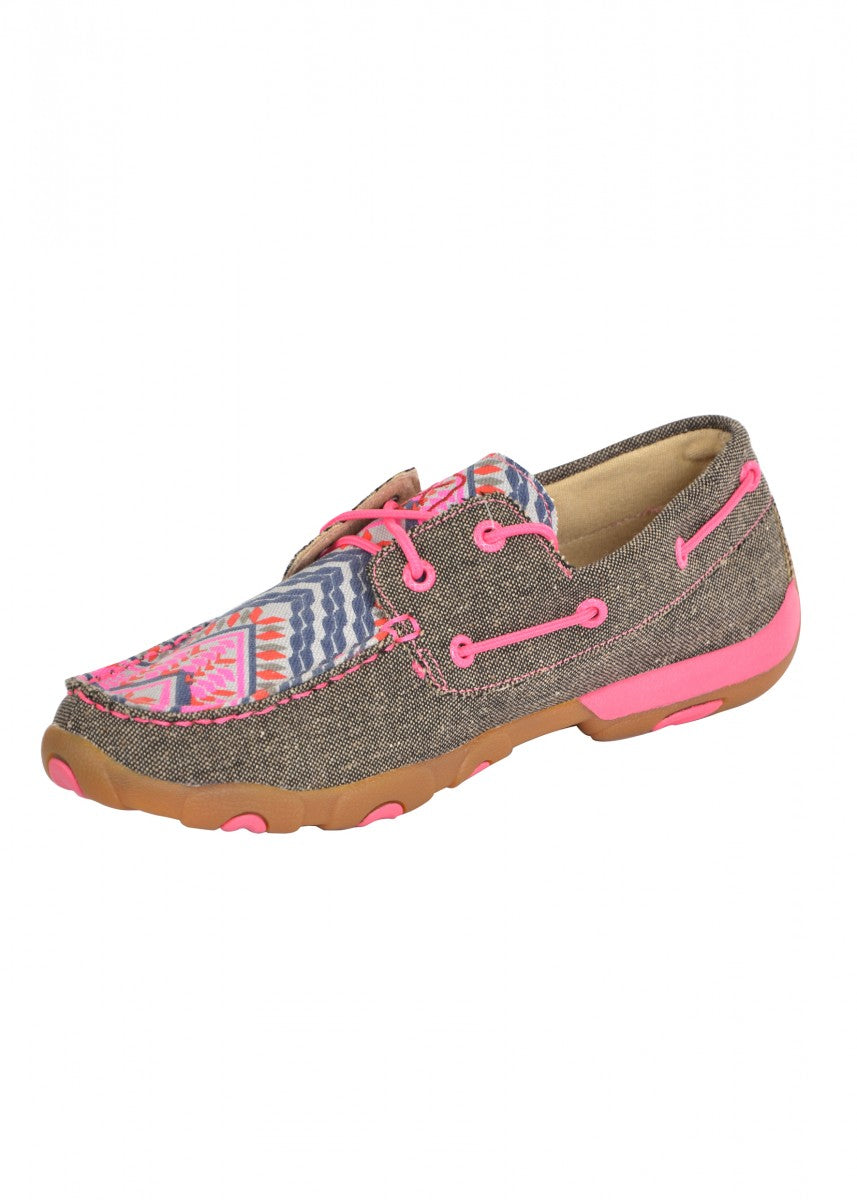 TCWDM0132 Twisted X Women's Pink Ribbon Aztec Mocs