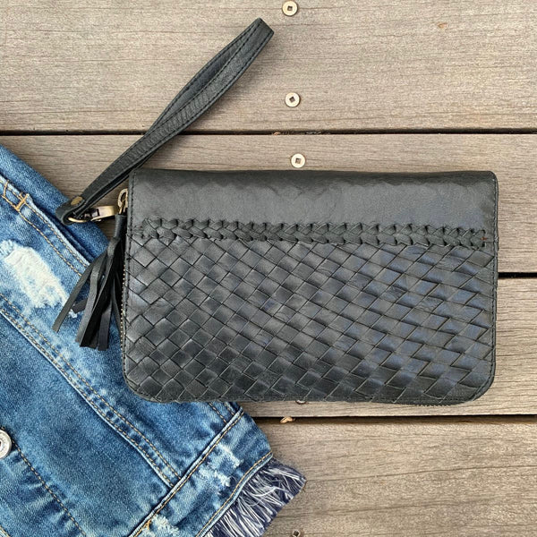 22302 Weave & Stitch Zip around Wallet- Black