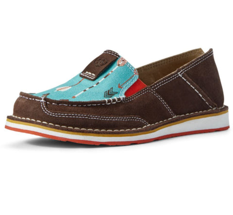 10031605 Ariat Womens Cruiser Chocolate Suede/Turquoise Arrows