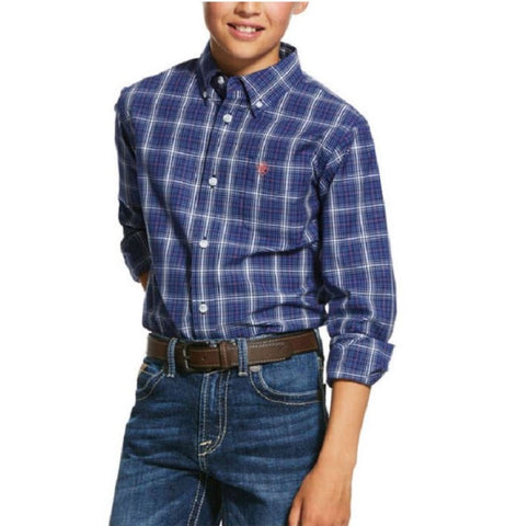 10030627 Ariat Boys Pro Gadsen LS Shirt Twilight Blue