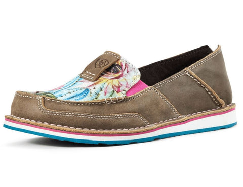 10029748 Ariat Womens Cruiser Brown Bomber/Floral Cactus Print