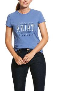 10030504  Ariat Women's Logo SS Shirt Blue Heather