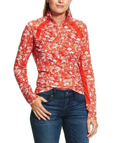 10030468 Ariat Women's Sunstopper 2.0 1/4 Zip Red Clay Toile