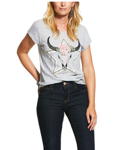 10030904 Ariat Women's Wynonna SS T-shirt Heather Grey