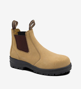 145 Blundstone Safety Elastic Sided Boot Fawn Suede