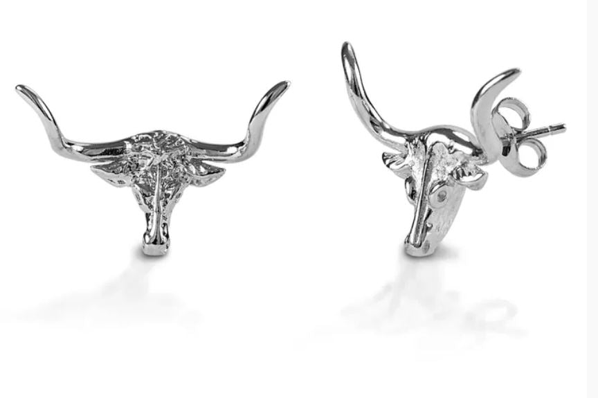 142079 Kelly herd Sterling Silver Longhorn Earrings