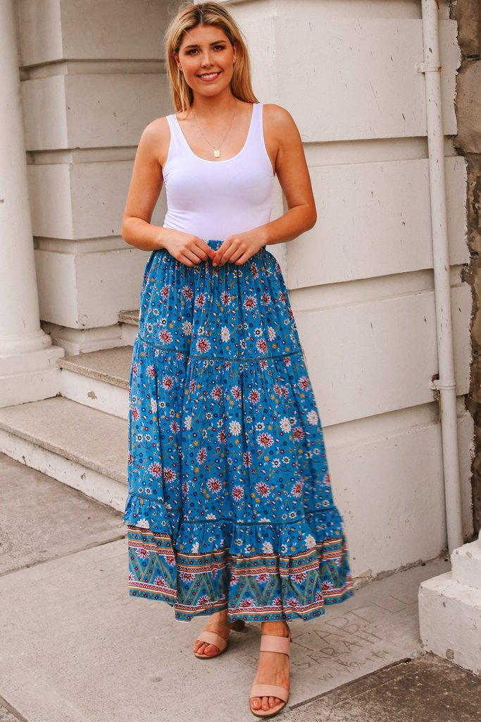 MO1535 Floral Skirt Blue