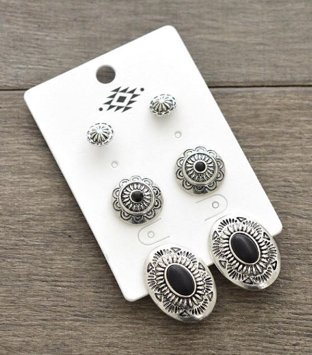 142220 Western Fashion Conco Earrings Set of 3 Blk