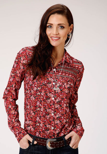 03-050-0590-7043RE Roper Women's Floral L/S Top
