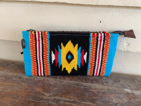 ADBG344DAR5 Saddle Blanket Zip Purse Black/Yellow
