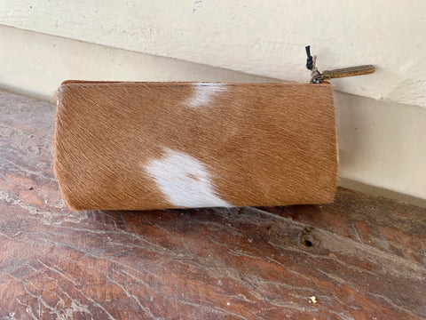 S-2699 Multi Coin Purse Hide Brown and White 1