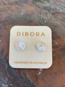5 Dibora Cabochon Glass Stud Earrings Gold Foil