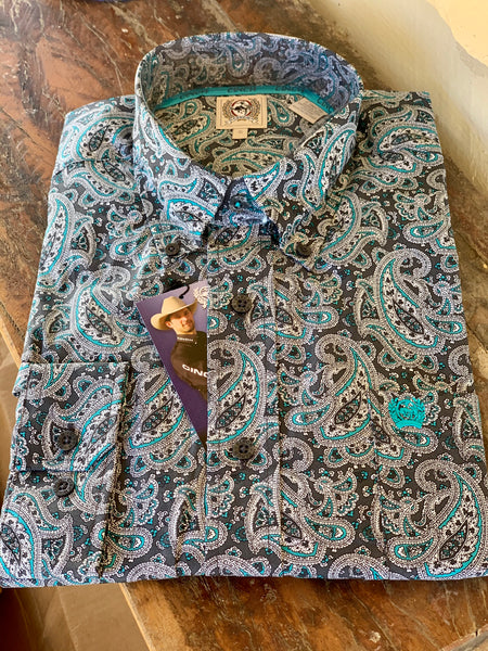 MTW1105036GRY Cinch Mens Button Down Western Paisley Long sleeve shirt