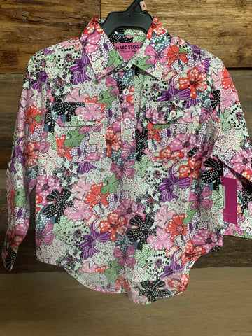 HCP7101031 Hard Slog Kids Print Half Placket Pink