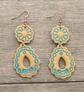 141705 Leather Carved Dangle Earrings