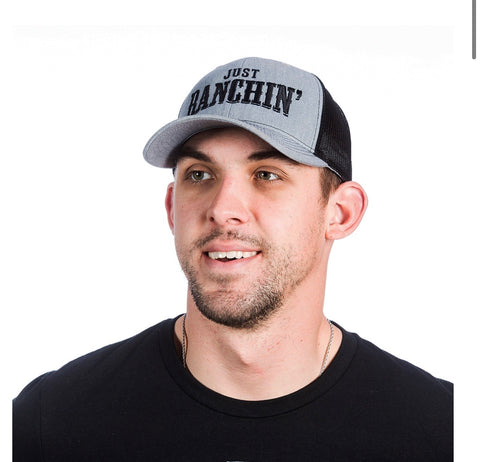 141447 Dale Brisby Just Ranchin Grey/Black Mesh Cap