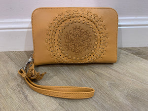 13578 Hand Tooled Flower Travel Wallet - Light Tan