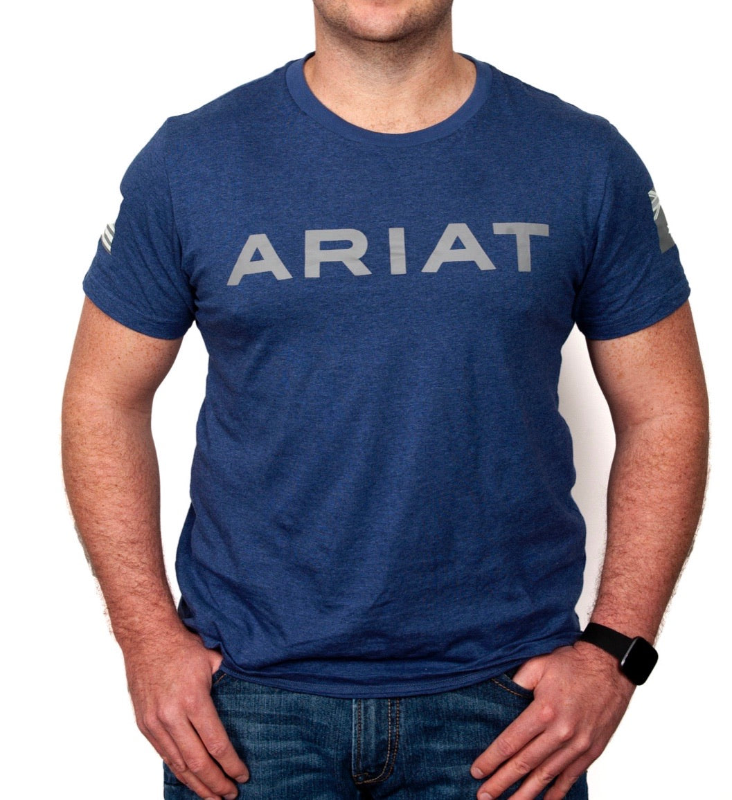 90001001 Ariat Mens Patriot Tee Heather Blue