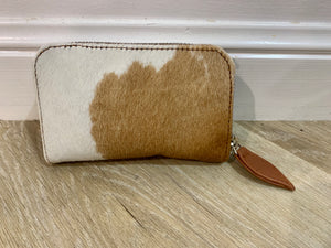17551 Hide Mini Zip around Wallet Brown and White