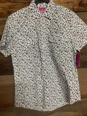 HCP2102022 Hard Slog Women's Print Half Placket S/S Shirt Marshmallow
