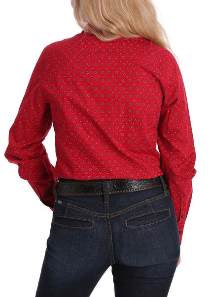 MSW9164143RED Cinch Womens Floral Red Long sleeve Shirt