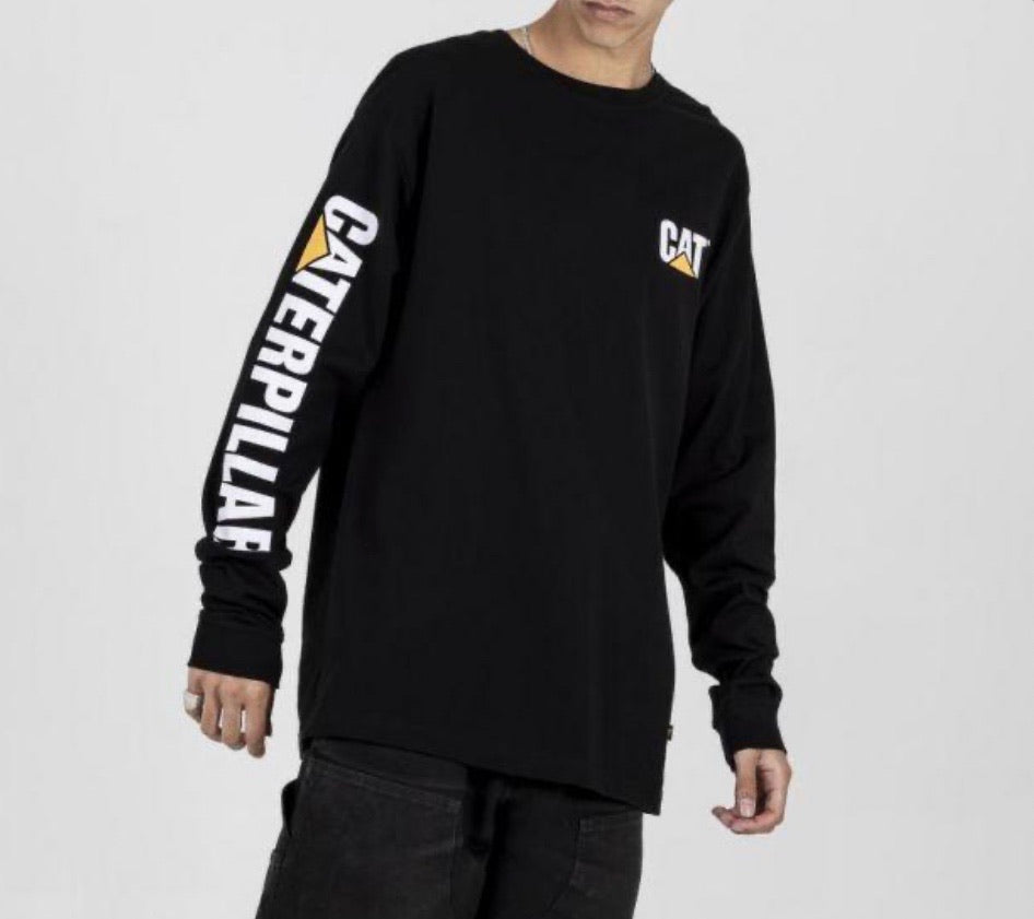 1510034 Cat Trademark Banner L/S Tee Black