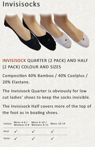 BAMINVIS  Bamboo Invisible socks Black