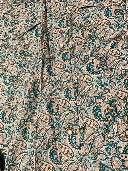 3-01-225-505BU Roper Men's Paisley long sleeve shirt