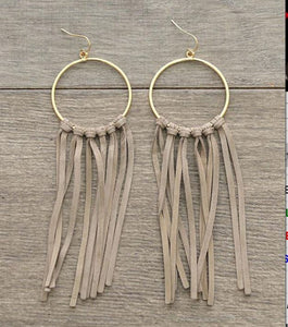 SE6762-KAKI Gold Leather Tassel earrings