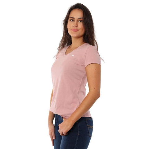220201305-DPI/WHT Ringers Western Signature Bull Women's Relaxed V Neck T Shirt Dusty Pink