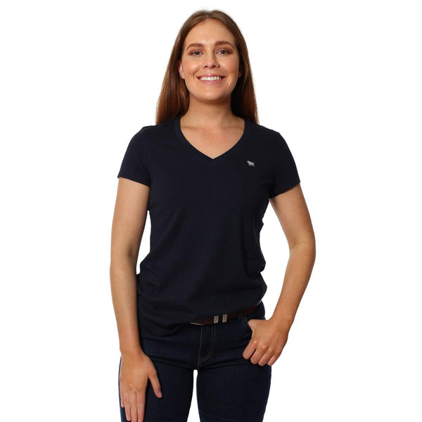 220201305-NV/SLV Ringers Western Women's Signature Relaxed V Neck T Shirt Navy