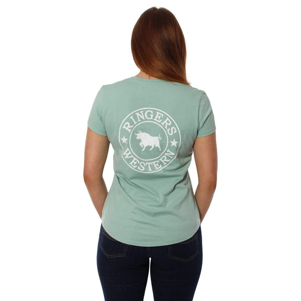 220201305-DM/WHT Ringers Western Women's Relaxed V Neck T Shirt Dusty Mint